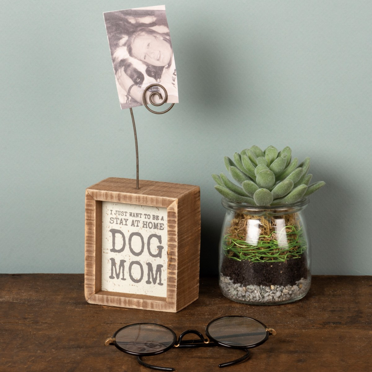 "Inset Photo Block - Be A Stay At Home Dog Mom - 3"" x 3.50"" x 1.50"", Plus Wire - Wood, Wire"