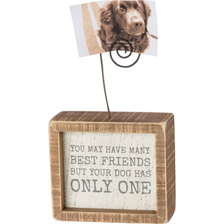 "Inset Photo Block - You Have Many Best Friends - 4"" x 3.50"" x 1.50"", Plus Wire - Wood, Wire"