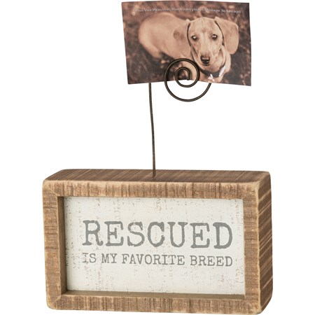 "Inset Photo Block - Rescued Is My Favorite Breed - 5"" x 3"" x 1.50"", Plus Wire - Wood, Wire"