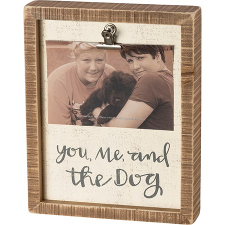 "Inset Box Frame - You Me Dog - 8"" x 10"" x 2"", Fits 6"" x 4"" Photo - Wood, Metal"