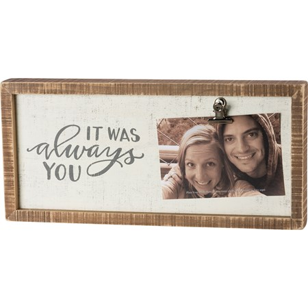 "Inset Box Frame - It Was Always You - 15"" x 7"" x 2"", Fits 6"" x 4"" Photo - Wood, Metal"