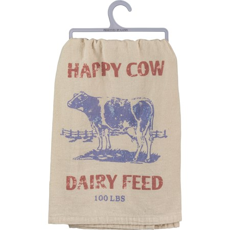 "Dish Towel - Happy Cow Dairy Feed 100 Lbs - 28"" x 28"" - Cotton"