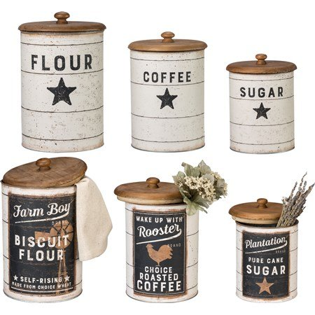 "Canister Set - Farmhouse - 6.75"" Diameter x 11.50"", 6"" Diameter x 9.75"", 5.25"" Diameter x 8.25"" - Metal, Paper, Wood"