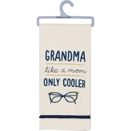 "Dish Towel - Grandma Like A Mom Only Cooler - 18"" x 26"" - Cotton"