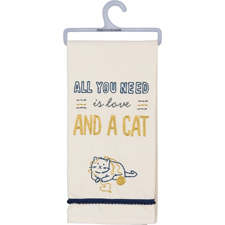 "Dish Towel - All You Need Is Love And A Cat - 18"" x 26"" - Cotton"