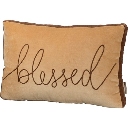 "Pillow - Blessed - 19"" x 12"" - Velvet"