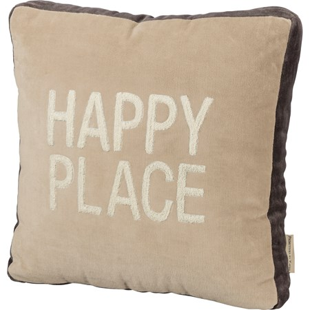 "Pillow - Happy Place - 14"" x 14"" - Velvet"
