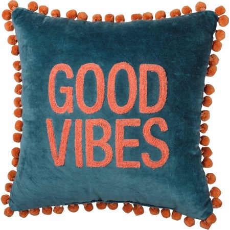 "Pillow - Good Vibes - 15"" x 15"" - Velvet"