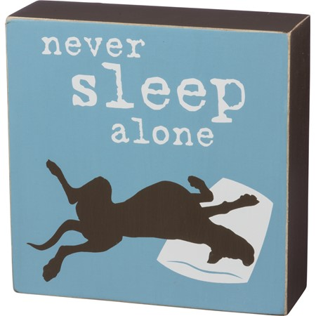 "Box Sign - Never Sleep Alone - 5"" x 5"" x 1.75"" - Wood"