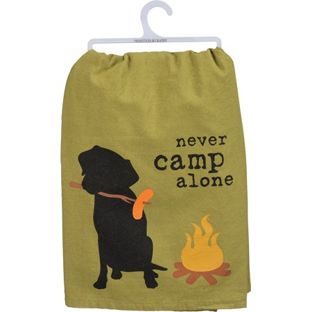 "Dish Towel - Never Camp Alone - 28"" x 28"" - Cotton"