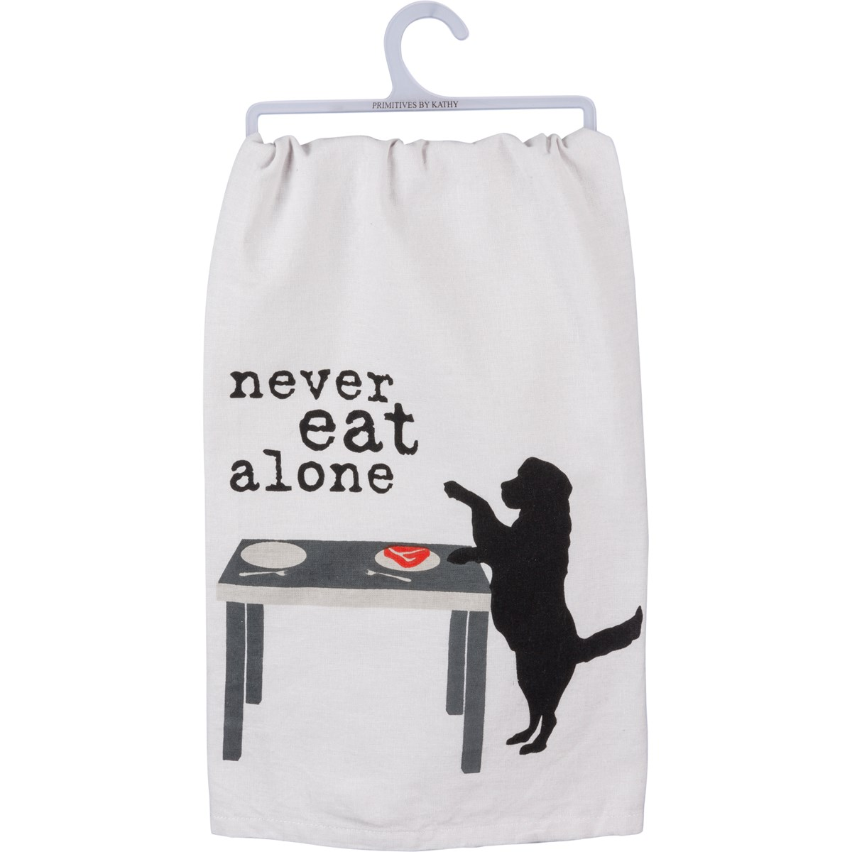 "Dish Towel - Never Eat Alone - 28"" x 28"" - Cotton"