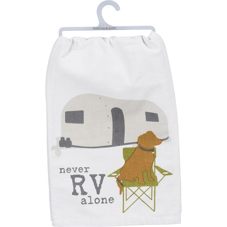 "Dish Towel - Never RV Alone - 28"" x 28"" - Cotton"