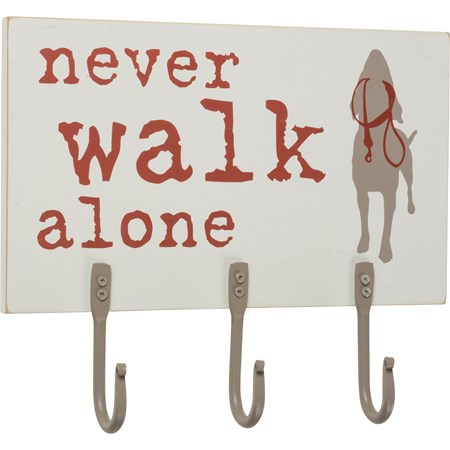 "Hook Board - Never Walk Alone - 10"" x 8"" x 0.50"" - Wood, Metal"