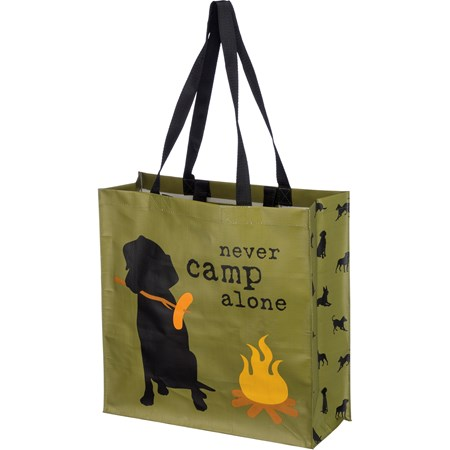 "Market Tote - Never Camp Alone - 15.50"" x 15.25"" x 6"" - Post-Consumer Material, Nylon"