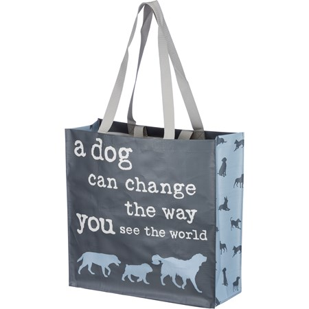 "Market Tote - Dog Can Change Way You See World - 15.50"" x 15.25"" x 6"" - Post-Consumer Material, Nylon"