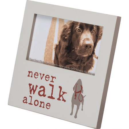 "Plaque Frame - Never Walk Alone - 6"" x 6"" x 0.25"", Fits 5"" x 3"" Photo - Wood, Glass, Metal"