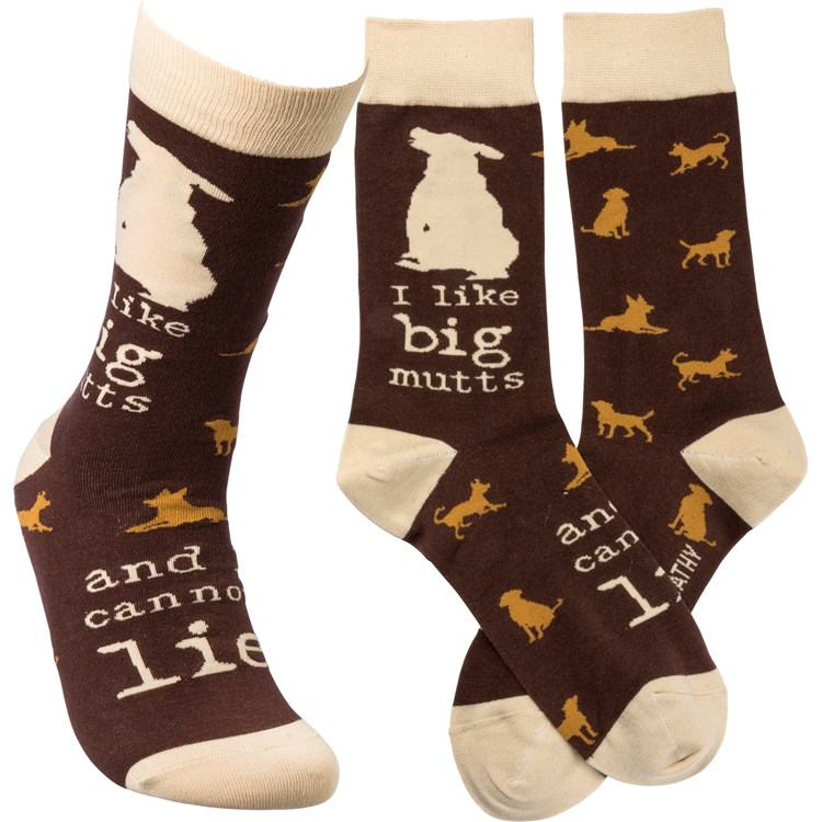 Socks - I Like Big Mutts And I Cannot Lie - One Size Fits Most - Cotton, Nylon, Spandex