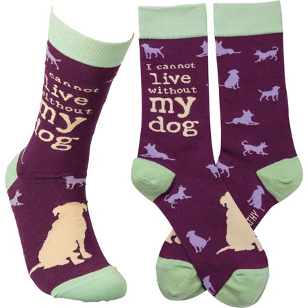 Socks - I Cannot Live Without My Dog - One Size Fits Most - Cotton, Nylon, Spandex