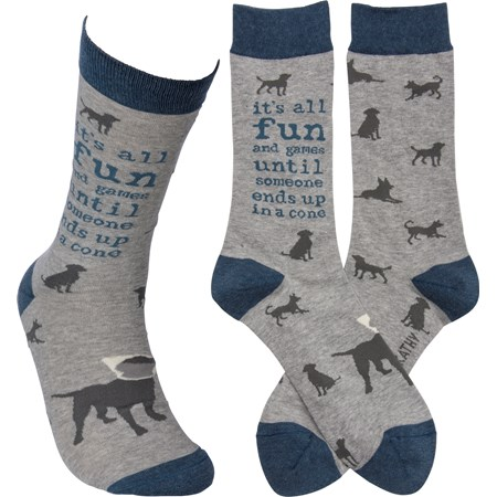 Socks - Fun & Games 'Til Someone In A Cone - One Size Fits Most - Cotton, Nylon, Spandex
