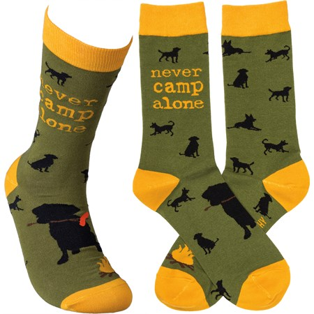 Socks - Never Camp Alone - One Size Fits Most - Cotton, Nylon, Spandex
