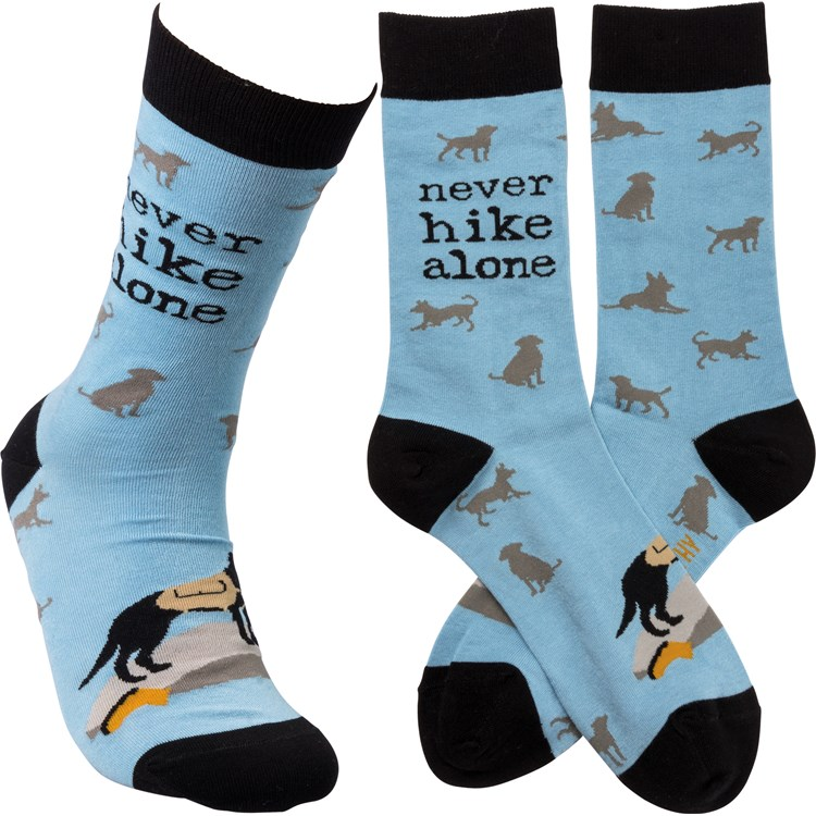 Socks - Never Hike Alone - One Size Fits Most - Cotton, Nylon, Spandex