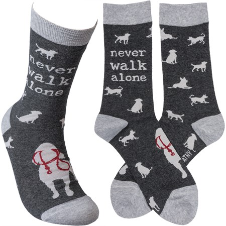 Socks - Never Walk Alone - One Size Fits Most - Cotton, Nylon, Spandex