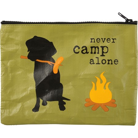"Zipper Pouch - Never Camp   - 9.50"" x 7"" - Post-Consumer Material, Metal"