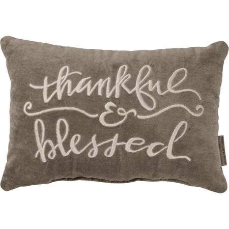 "Pillow - Thankful & Blessed - 15"" x 10"" - Cotton"