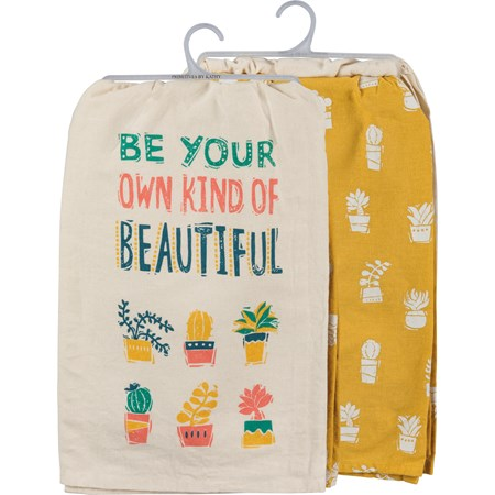 "Dish Towel Set - Be Your Own Kind Of Beautiful - 28"" x 28"" - Cotton"