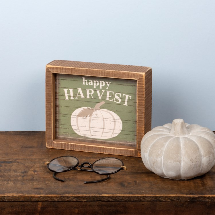 "Inset Box Sign - Happy Harvest - 6"" x 5"" x 1.75"" - Wood, Paper"