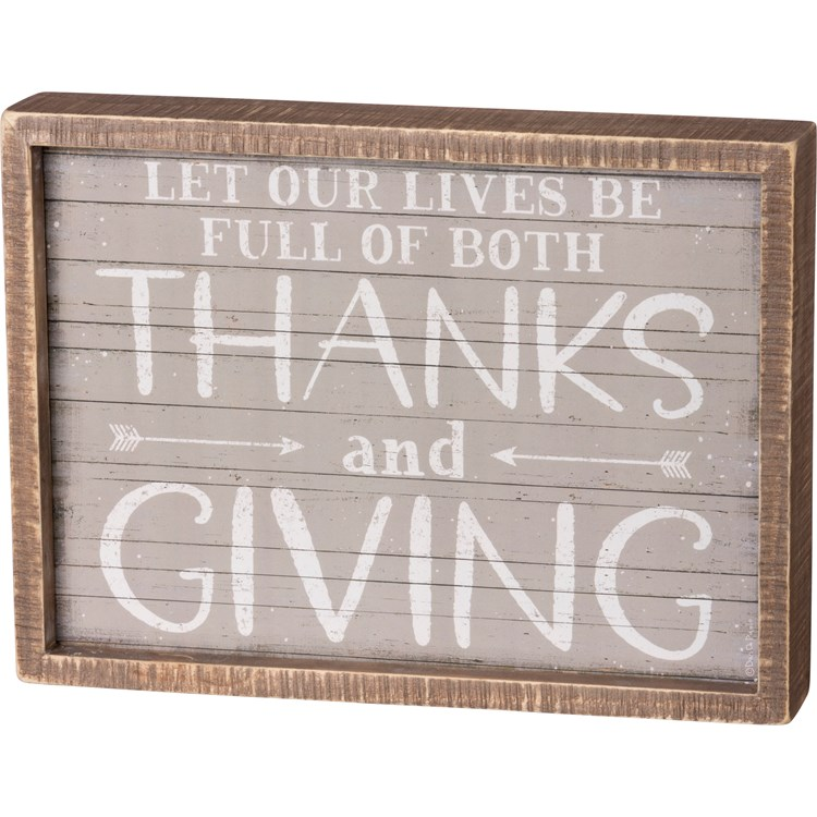 "Inset Box Sign - Lives Full Of Thanks And Giving - 11"" x 8"" x 1.75"" - Wood, Paper"