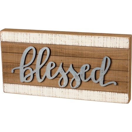 "Slat Box Sign - Blessed - 18"" x 9""  x 1.75"" - Wood, Metal"