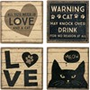 "Coaster Set - All You Need Is Love And A Cat - 4"" x 4"" x 1.50"" - Stone, Metal, Cork"