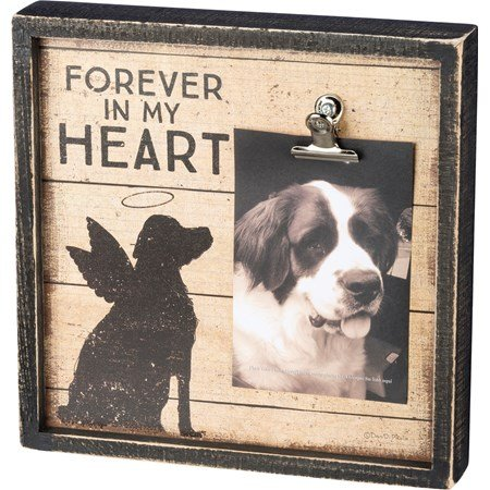 "Inset Box Frame - Forever In My Heart - 10"" x 10"" x 2"", Fits 4"" x 6"" Photo - Wood, Paper, Metal"