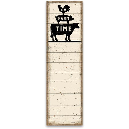 "List Notepad - On Farm Time - 2.75"" x 9.50"" x 0.25"" - Paper, Magnet"