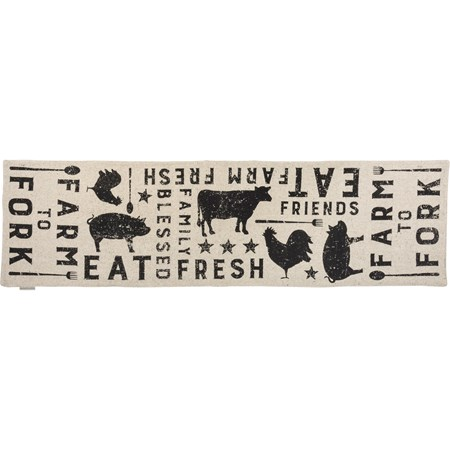 "Runner - Farm To Fork - 56"" x 15"" - Cotton"