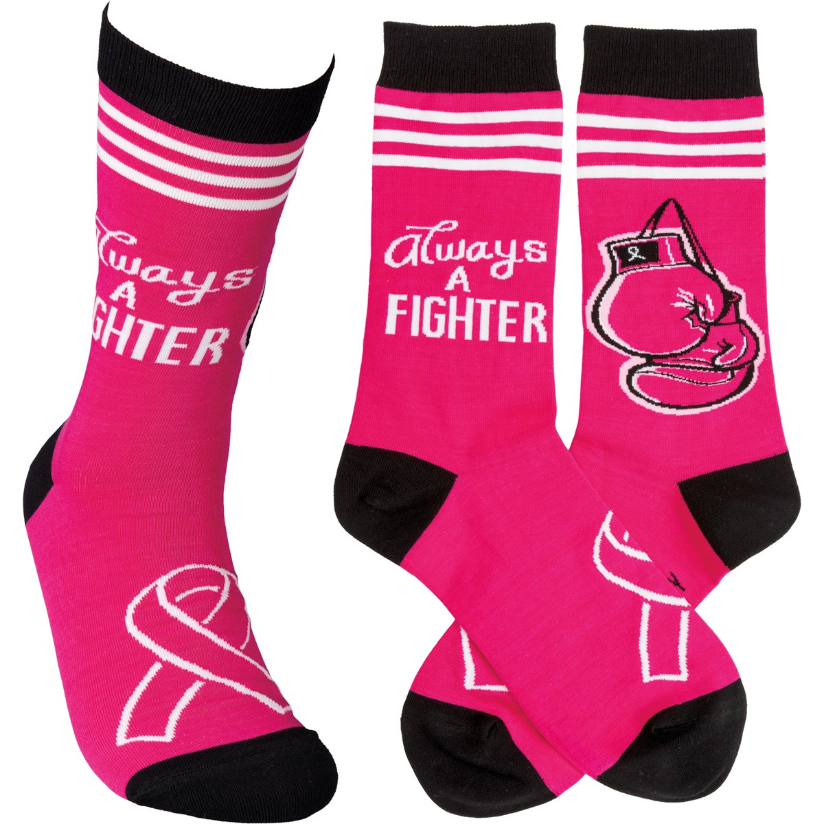 Socks - Always A Fighter - One Size Fits Most - Cotton, Nylon, Spandex