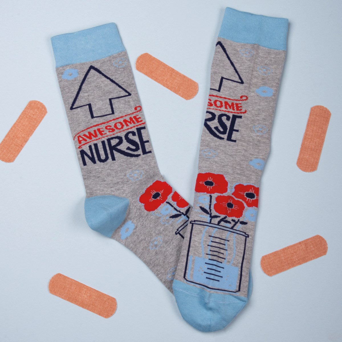 Socks - Awesome Nurse - One Size Fits Most - Cotton, Nylon, Spandex