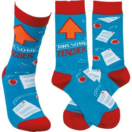 Socks - Awesome Teacher - One Size Fits Most - Cotton, Nylon, Spandex