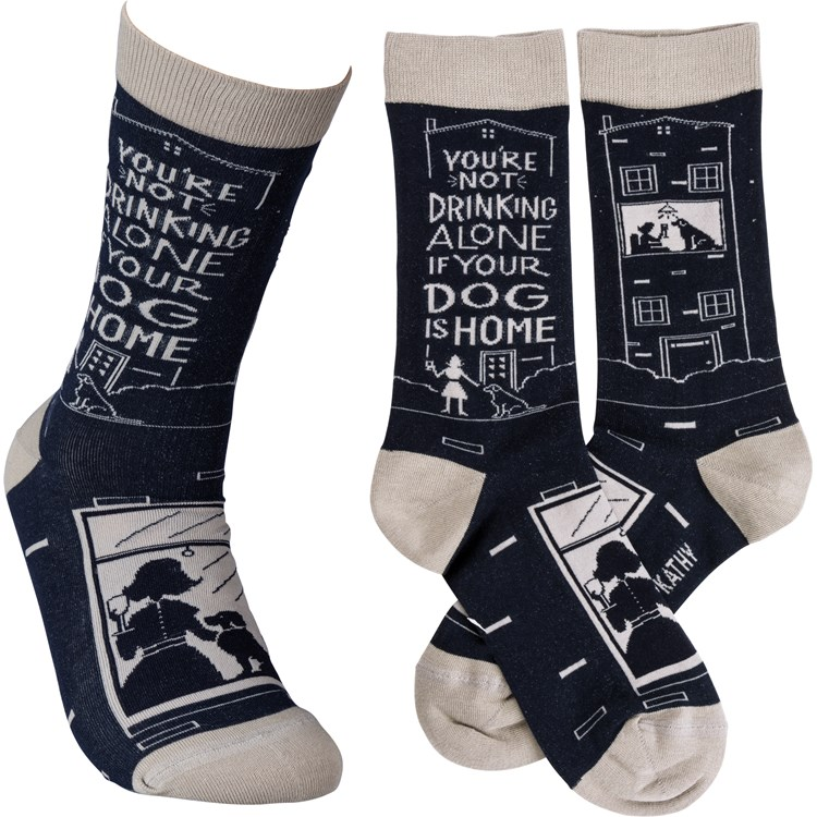 Socks - Not Drinking Alone If Your Dog Is Home - One Size Fits Most - Cotton, Nylon, Spandex