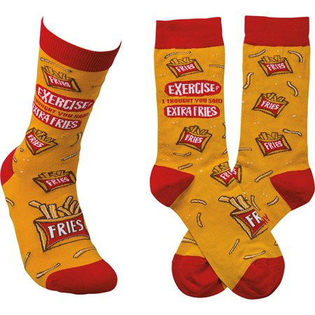 Socks - Exercise? I Thought You Said Extra Fries - One Size Fits Most - Cotton, Nylon, Spandex