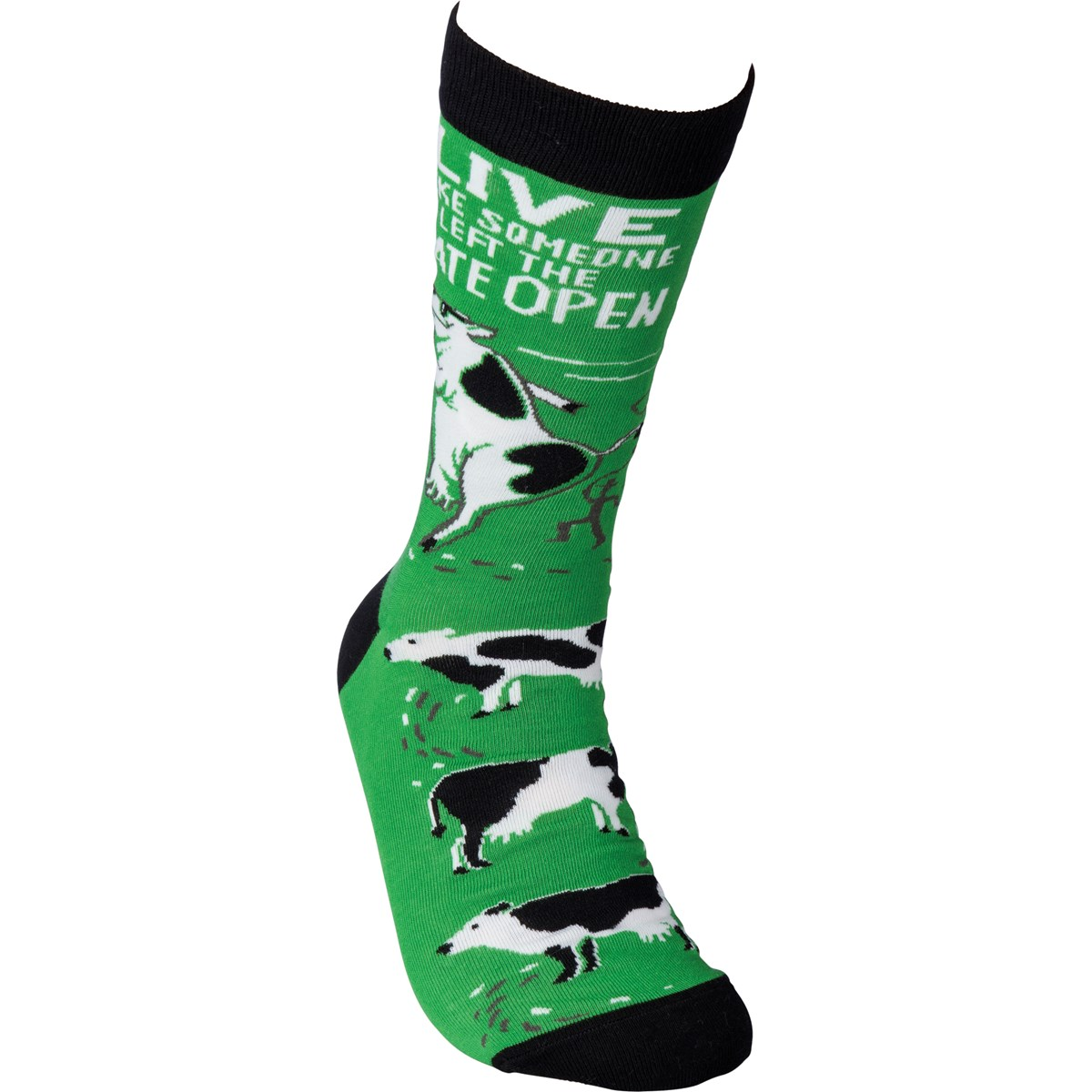 Socks - Live Like Someone Left The Gate Open - One Size Fits Most - Cotton, Nylon, Spandex