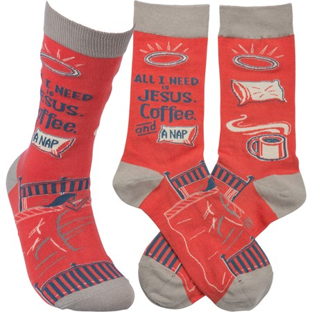Socks - All I Need Is Jesus, Coffee, And Naps - One Size Fits Most - Cotton, Nylon, Spandex