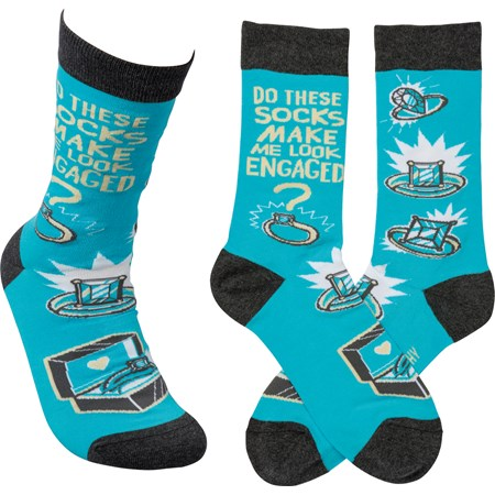 Socks - Do These Make Me Look Engaged - One Size Fits Most - Cotton, Nylon, Spandex