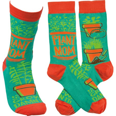 Socks - Plant Mom Grow Damn It - One Size Fits Most - Cotton, Nylon, Spandex