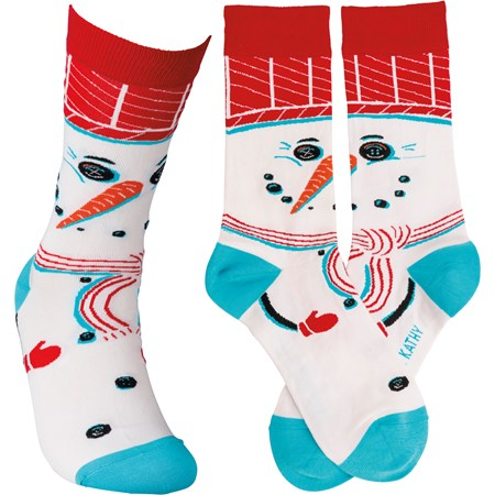 Socks - Snowman - One Size Fits Most - Cotton, Nylon, Spandex