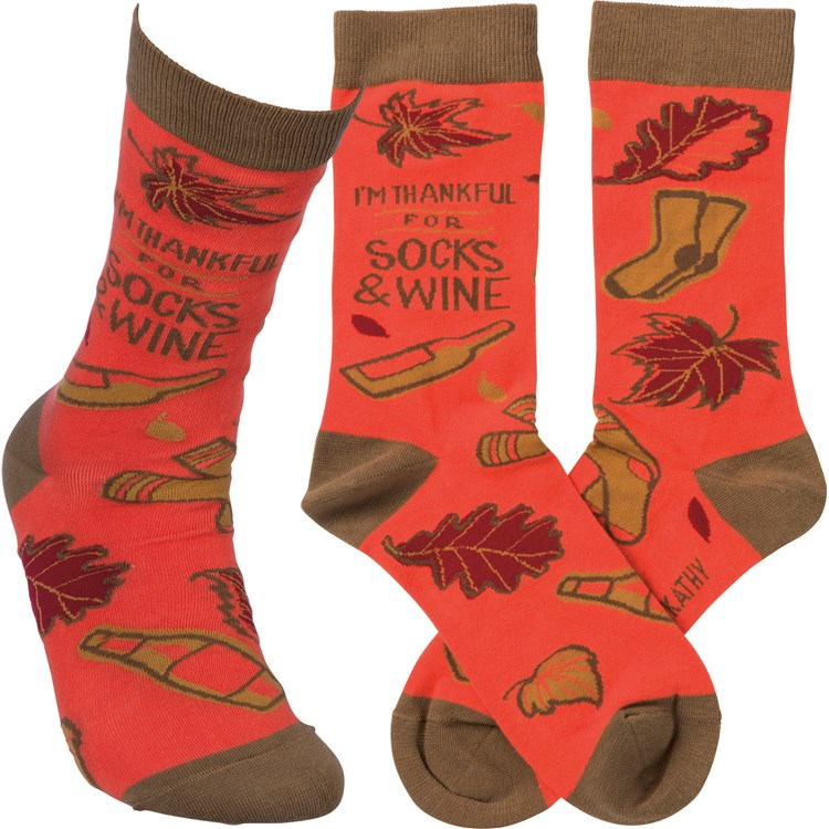 Socks - I'm Thankful For Socks And Wine - One Size Fits Most - Cotton, Nylon, Spandex