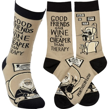 Socks - Friends & Wine Cheaper Than Therapy - One Size Fits Most - Cotton, Nylon, Spandex