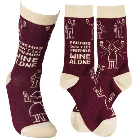 Socks - Friends Don't Let Friends Wine Alone - One Size Fits Most - Cotton, Nylon, Spandex