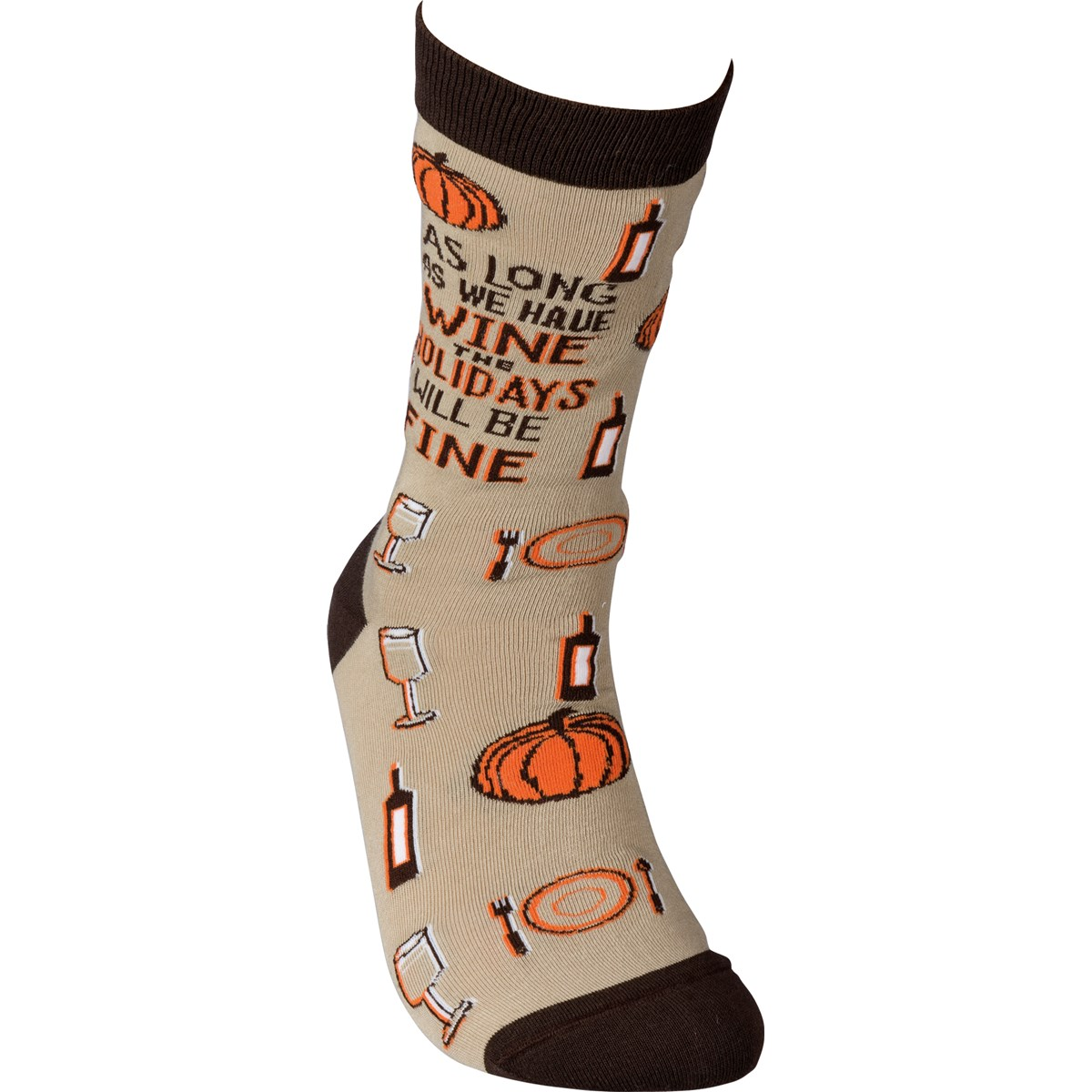 Socks - As Long As We Have Wine Holidays Fine - One Size Fits Most - Cotton, Nylon, Spandex